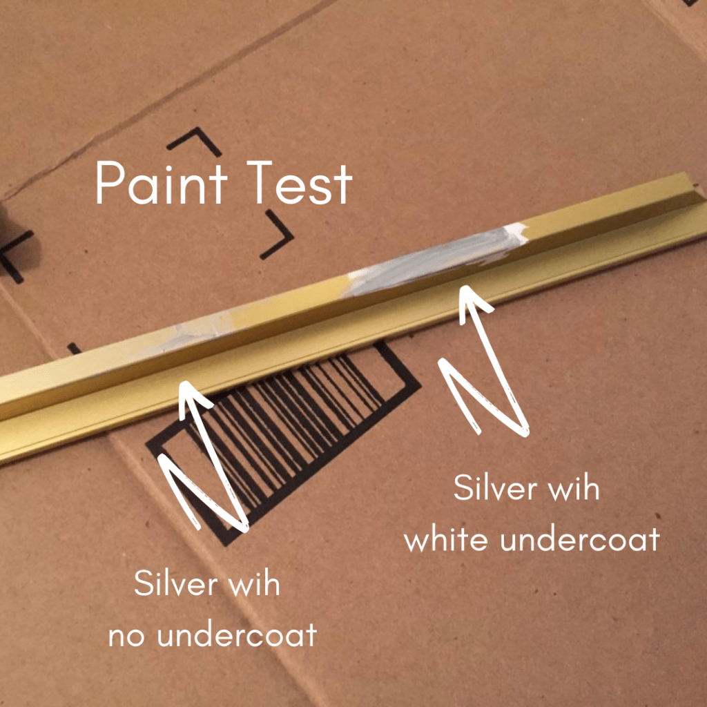 paint test on modern picture frame