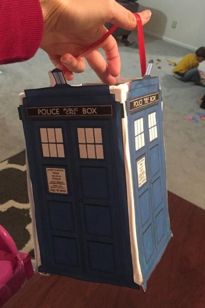Dr Who trick or treat basket from upcycled cardboard
