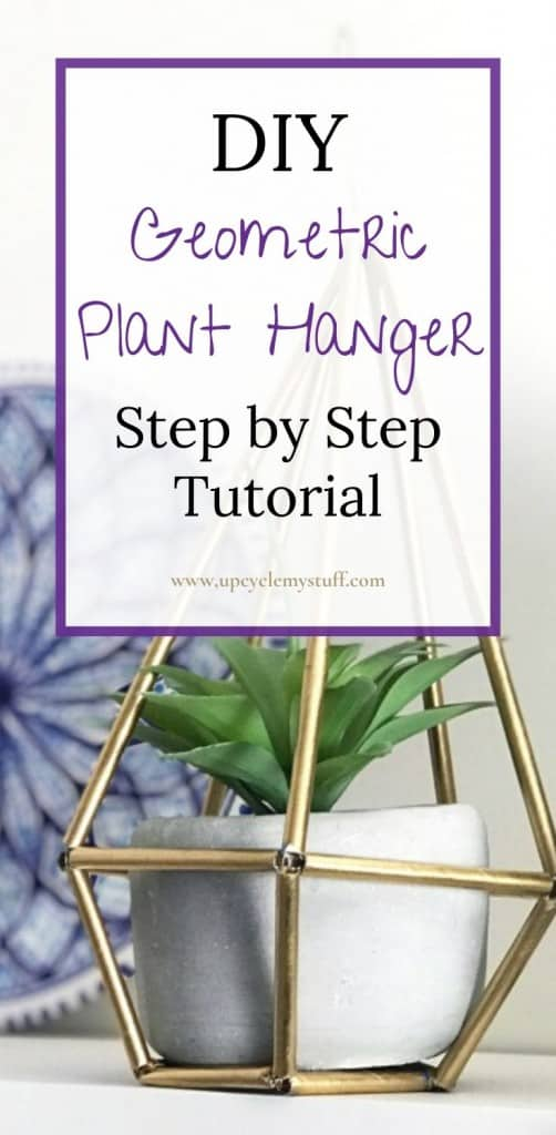 DIY geometric plant hanger from drinking staws