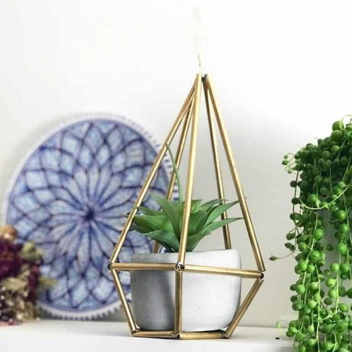 DIY geometric plant holder
