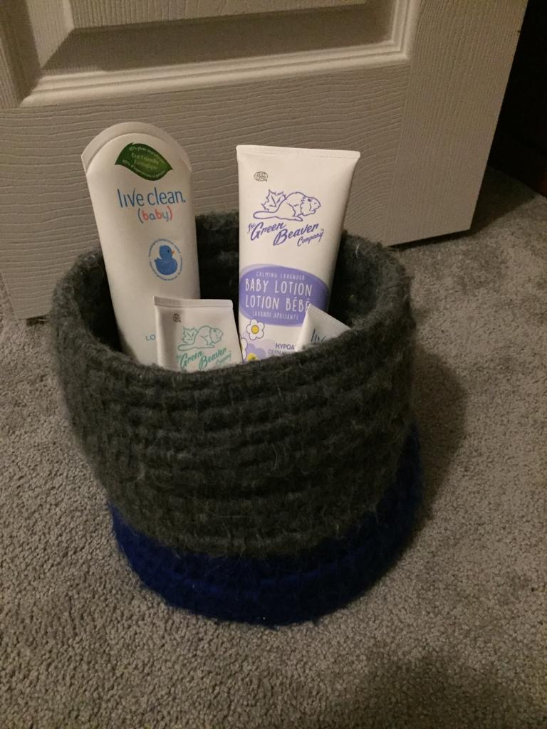 basket made of upcycled plastic bags