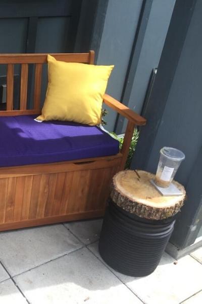 log slice side table upcycle project