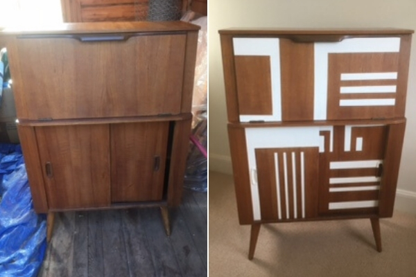 mid century modern cabinet upcycle