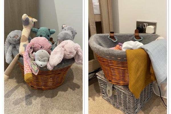 upcycled cashmere sweater nursery storage basket