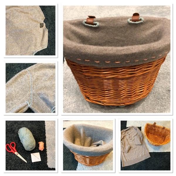 upcycled cashmere sweater storage basket