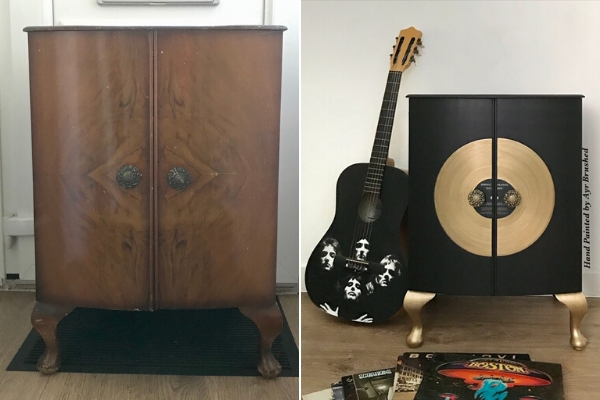 upcycled music cabinet furniture makeover