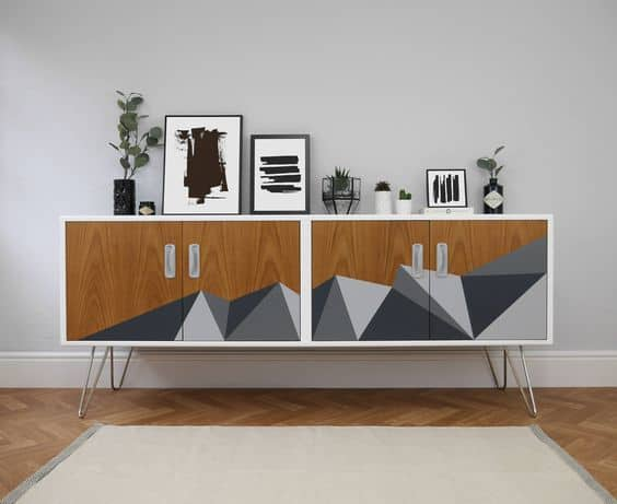 sideboard Upcycle Ideas geometric shapes