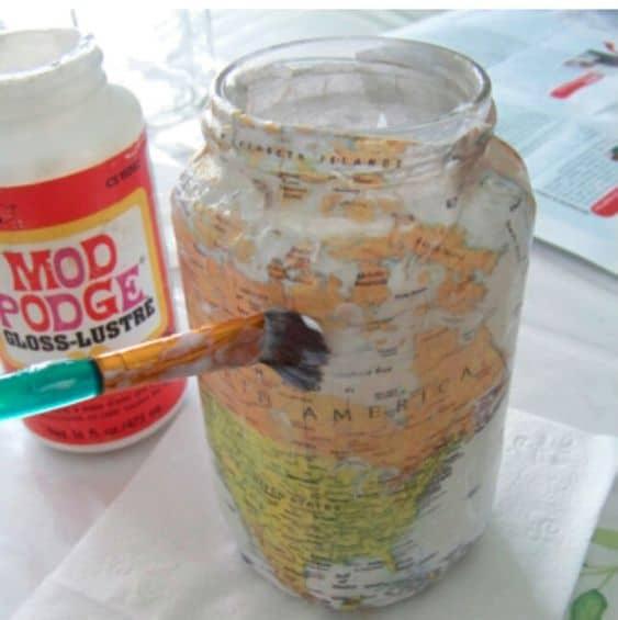 mod podge for mason jar money box