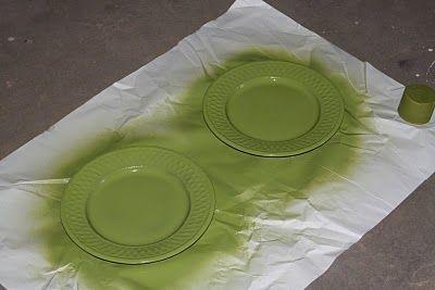 upcycle dish plates spray paint