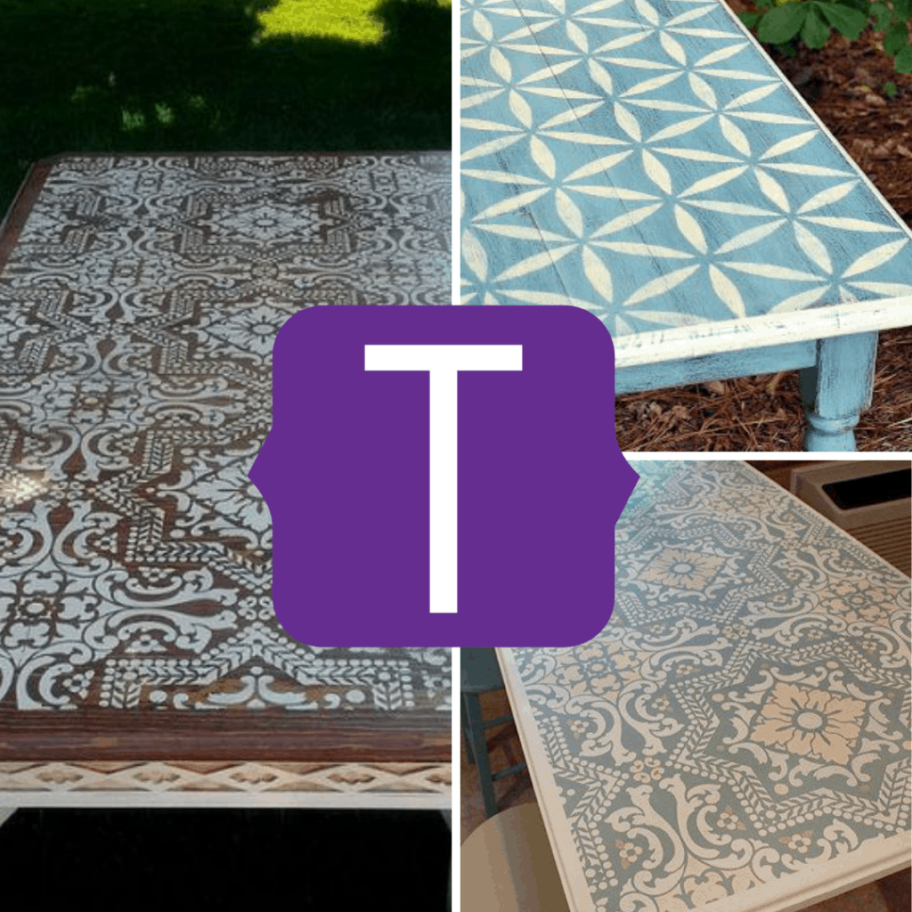 stencilled table tops