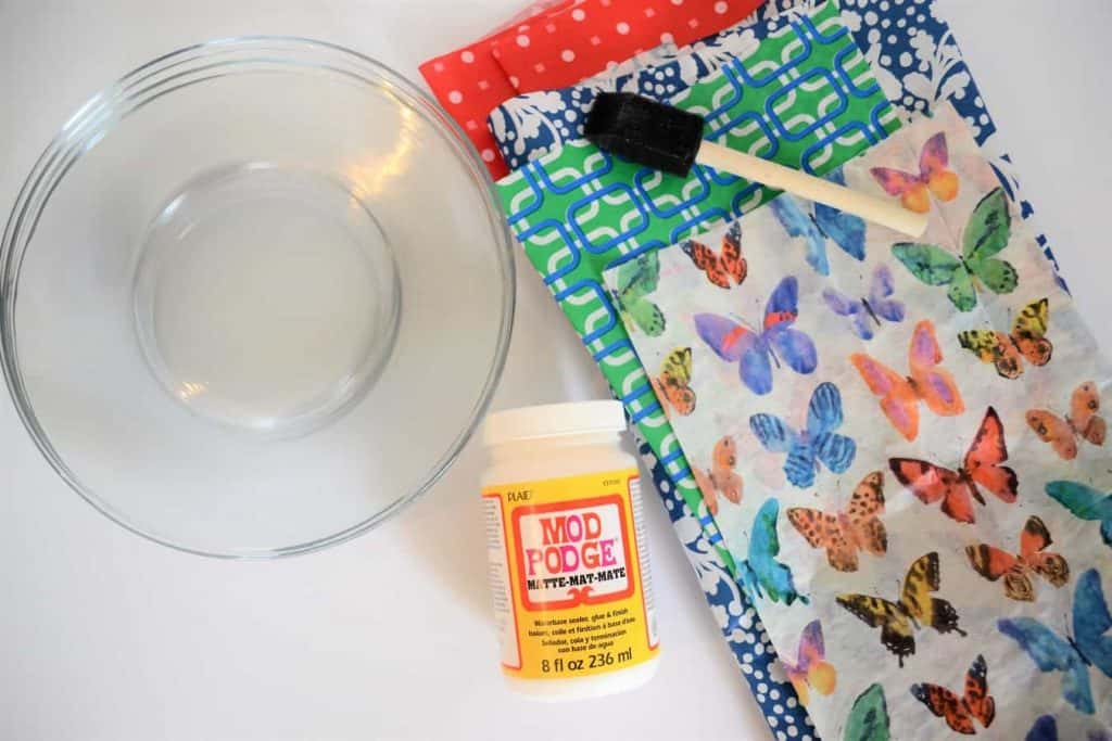upcycled plates with mod podge and tissue