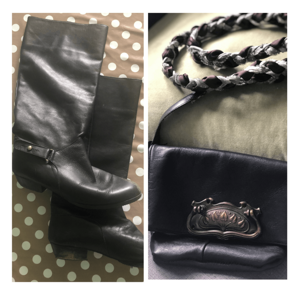 how to upcycle a leather boot as a handbag