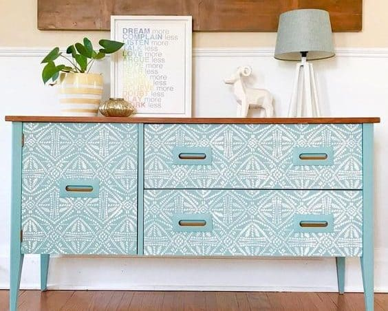 blue sideboard with stencils