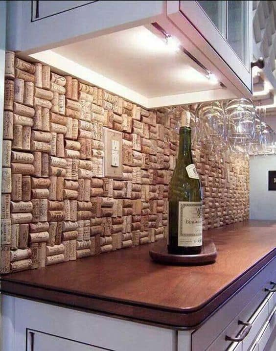 DIY Kitchen Makeover Cork Backsplash