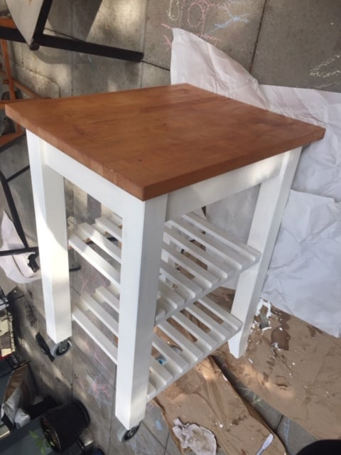 kitchen trolley with white painted legs