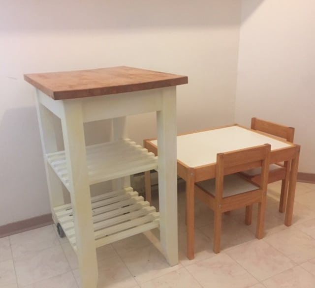 kitchen trolley after painting and staining