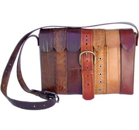 bag made from leather belts