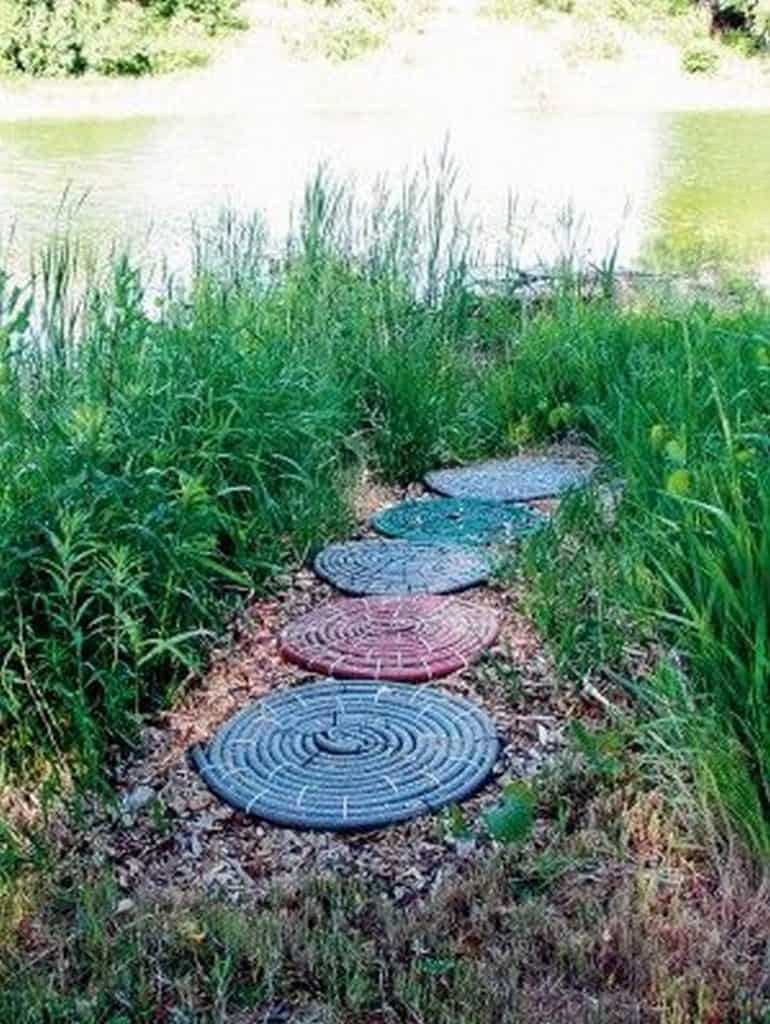 upcycled garden hose rugs