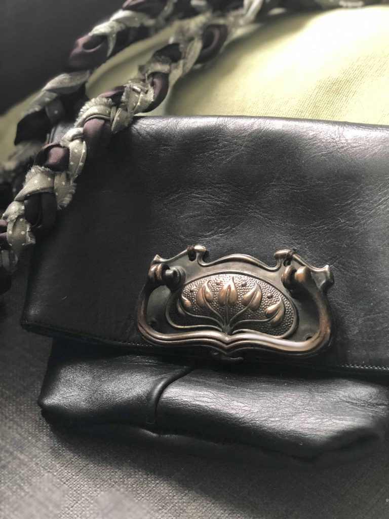 upcycled bag boots and drawer handle