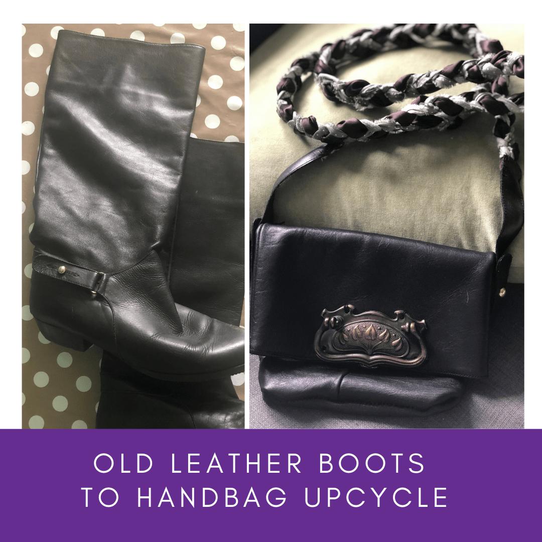 leather boots to handbag upcycle