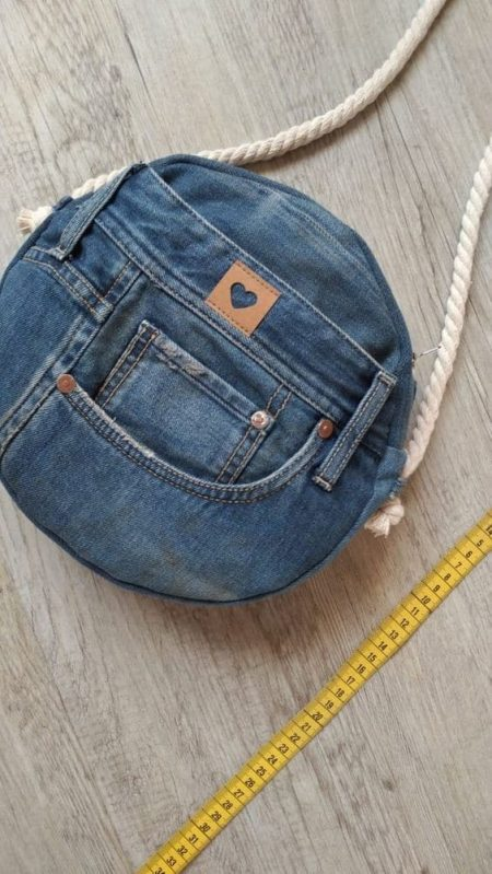 clutch made of blue jeans