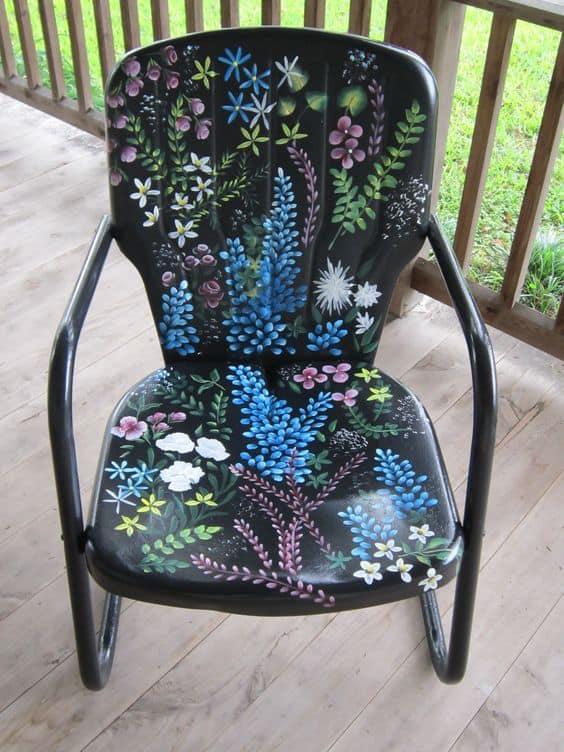 painted metal garden chair