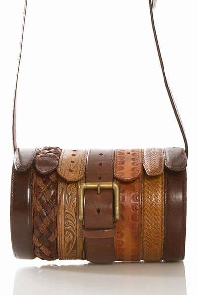 clutch made from leather belts