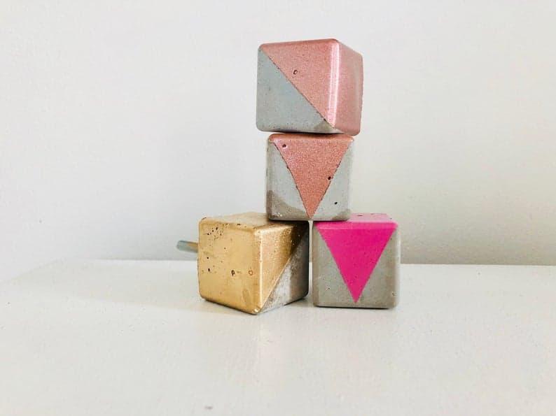 geometric concrete drawer knobs