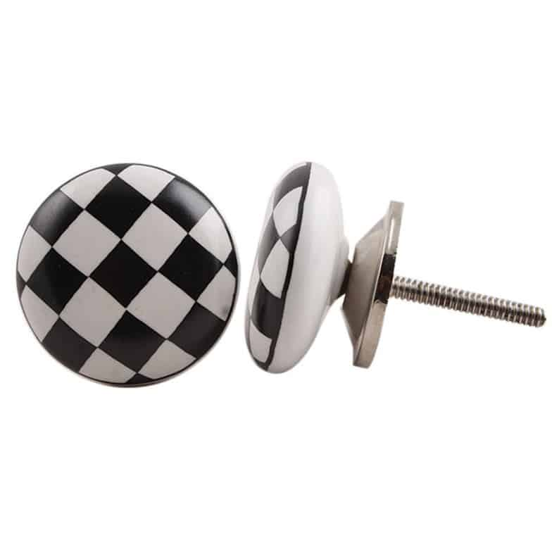 black and white checkerboard handles
