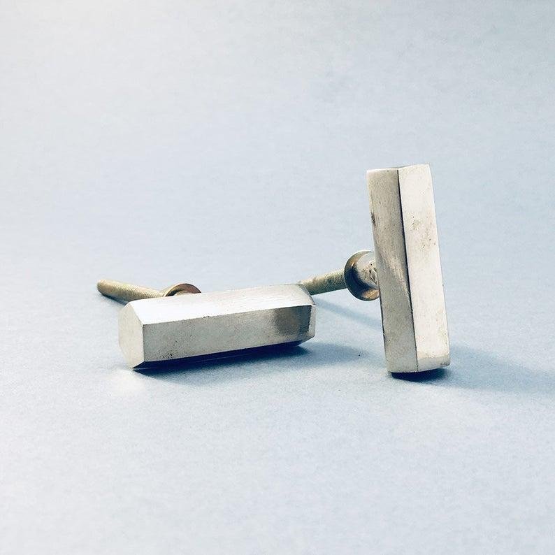silver hexagon bar drawer pulls