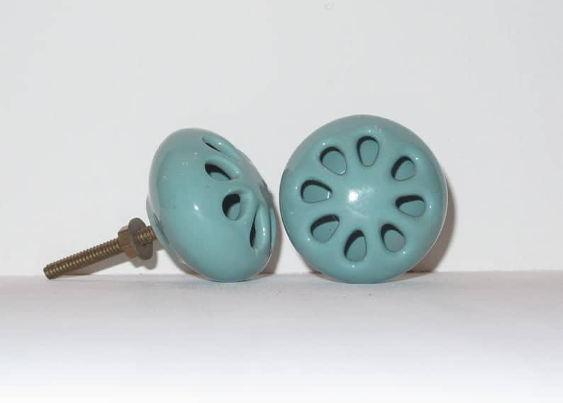 hollow teal ceramic knobs