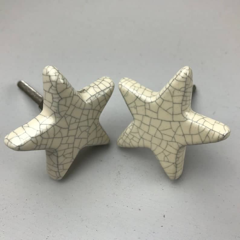 star shaped drawer knobs crackle