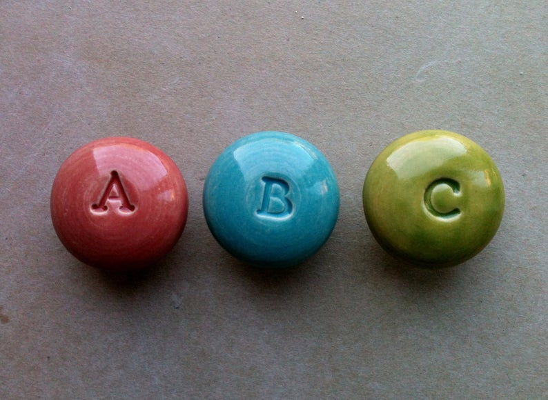 alphabet ceramic drawer knobs