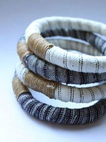 fabric scrap wrapped bangles