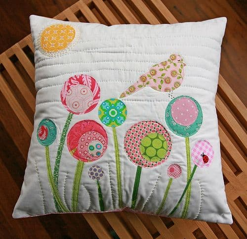 scrap fabric decorated cushion