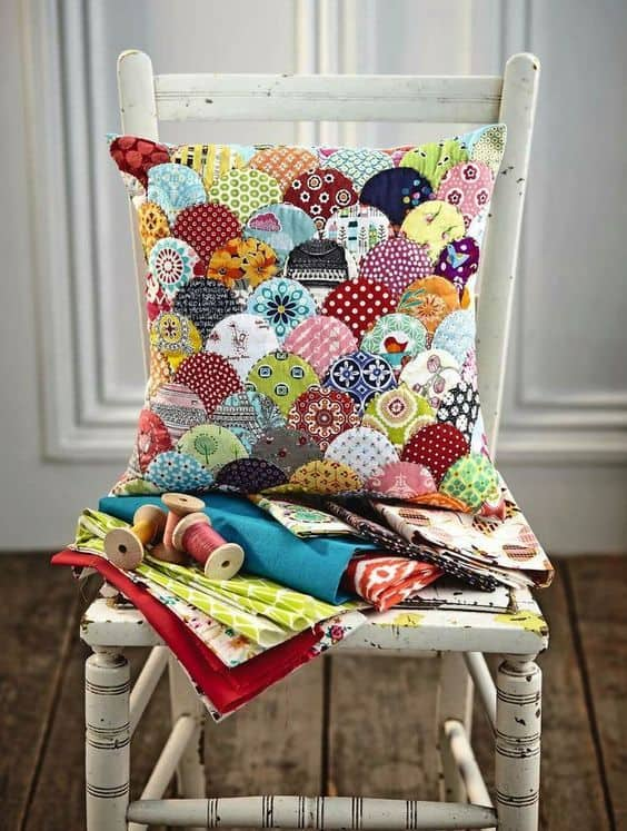scalloped scrap fabric cushion