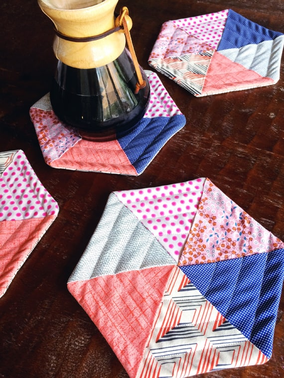 hexagon quilted scrap fabric coasters