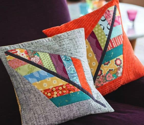 scrap fabric feather cushions