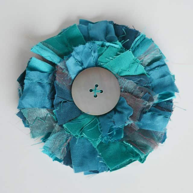 scrap fabric brooch teal