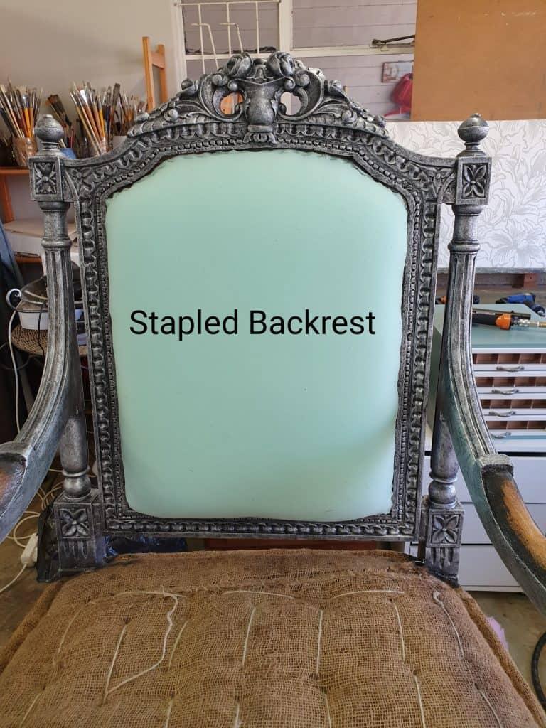 stapled backrest upholstery tutorial