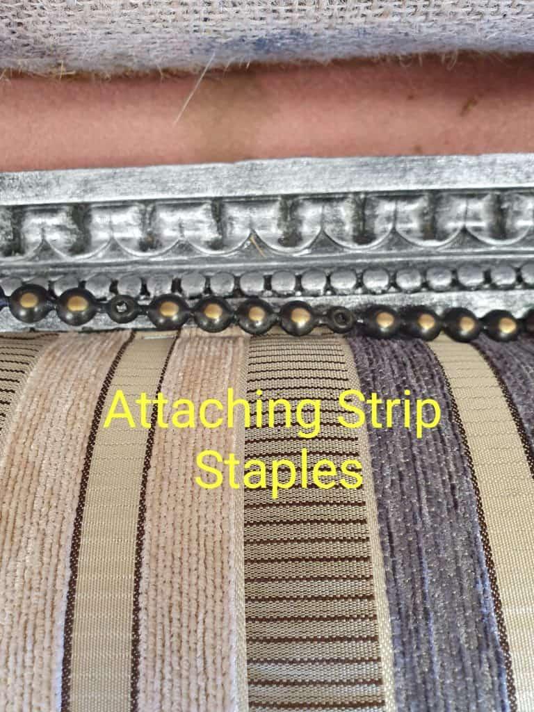 upholstery tutorial attaching strip staples