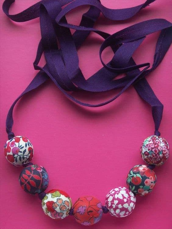 fabric wrapped beaded necklace