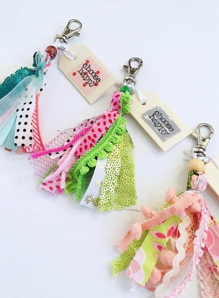 scrap fabric tassle keychain