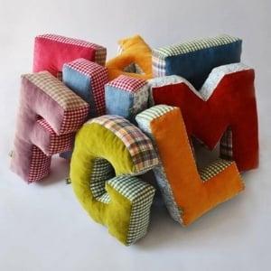 scrap fabric plush letters