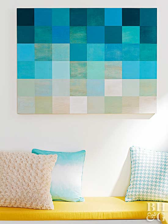 use tester pots to create artwork for a blank wall