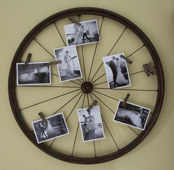wheel photo display to fill a blank wall