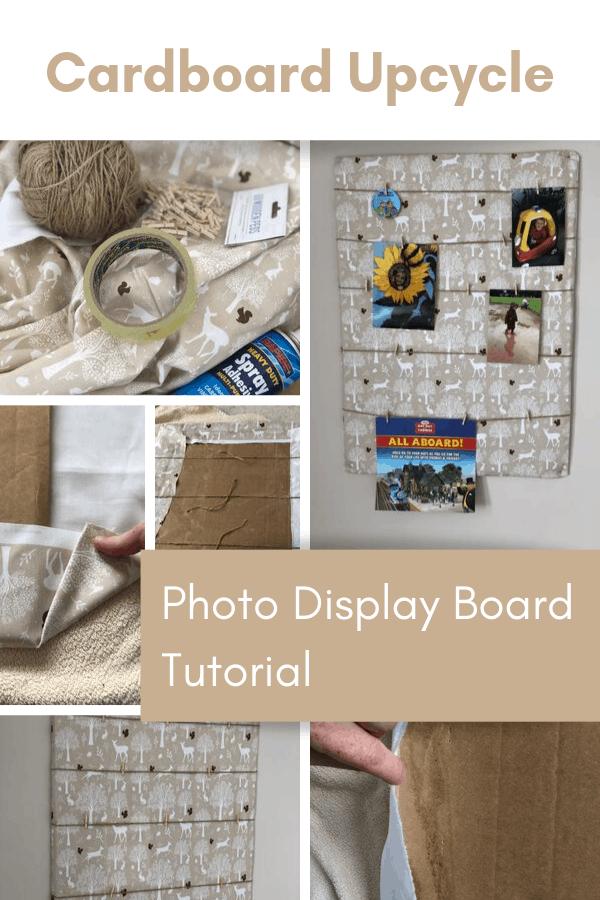 DIY Photo display board form cardboard upcycle project