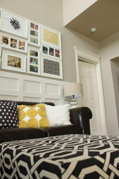 framed fabric as wall art