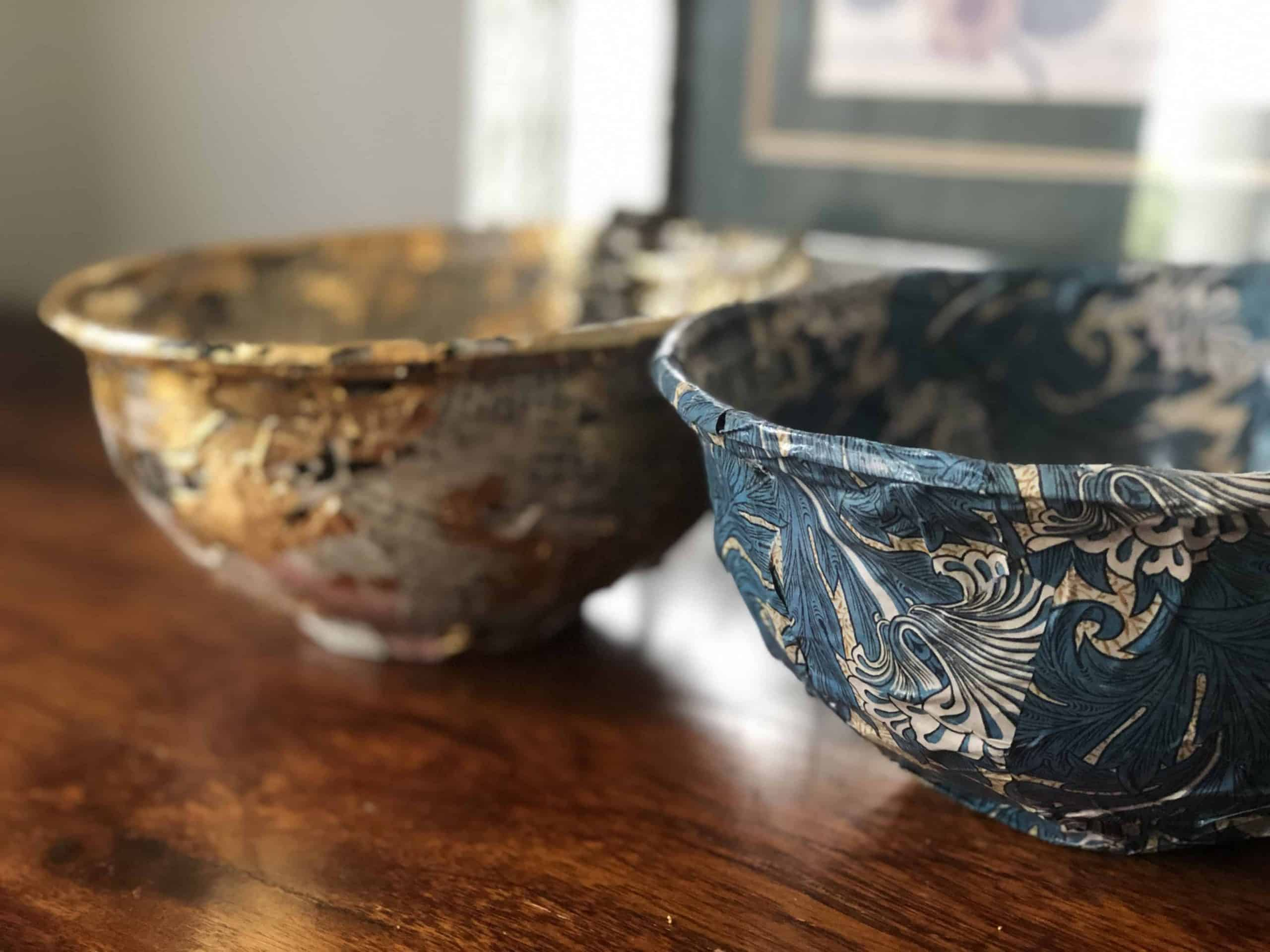 William Morris trinket bowls from takeaway containers upcycle project