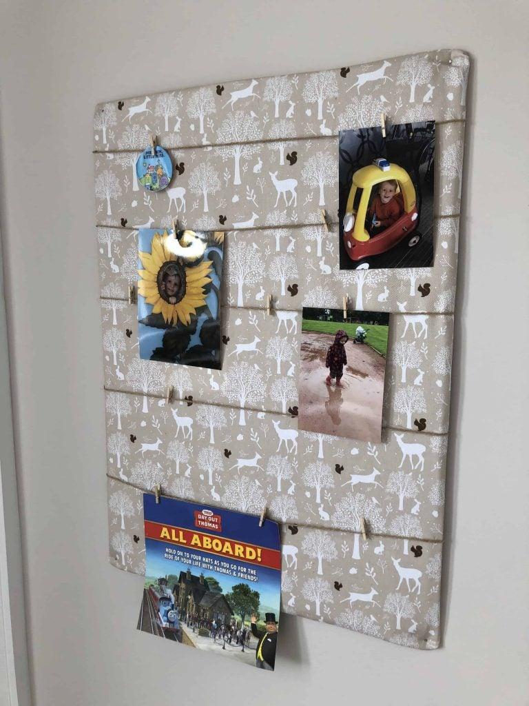 photo display board from cardboard DIY